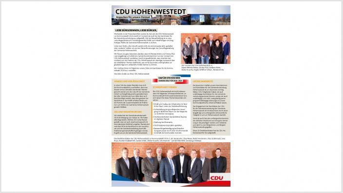 Informationsblatt der CDU Hohenwestedt zur Kommunalwahl